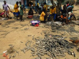The Water Project:  Children Peeling Cassava Root
