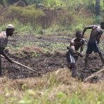 The Water Project: Lokomasama, Kennenday Village -  Young Men Making Garden Bed For Planting