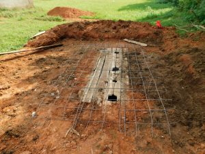 The Water Project:  Foundation Outlined Over Latrine Pits