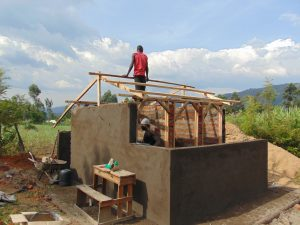 The Water Project:  Framing Latrine Roof
