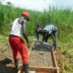 The Water Project: Namarambi Community, Iddi Spring -  Sanitation Slab Construction