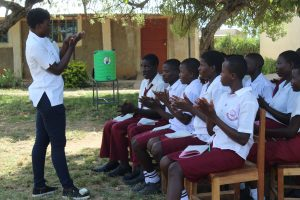 The Water Project:  Trainer Jemmimah Leads Handwashing Demonstration
