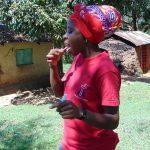 The Water Project: Mubinga Community, Mulutondo Spring -  Georgina Demonstrates Toothbrushing