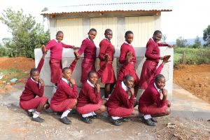 The Water Project:  Girls Pose With New Latrines