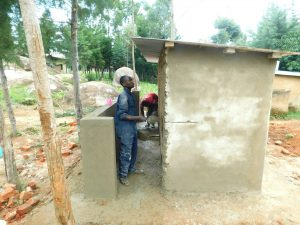 The Water Project:  Latrine Plaster Work