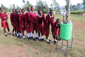 The Water Project:  Girls Line Up For Handwashing