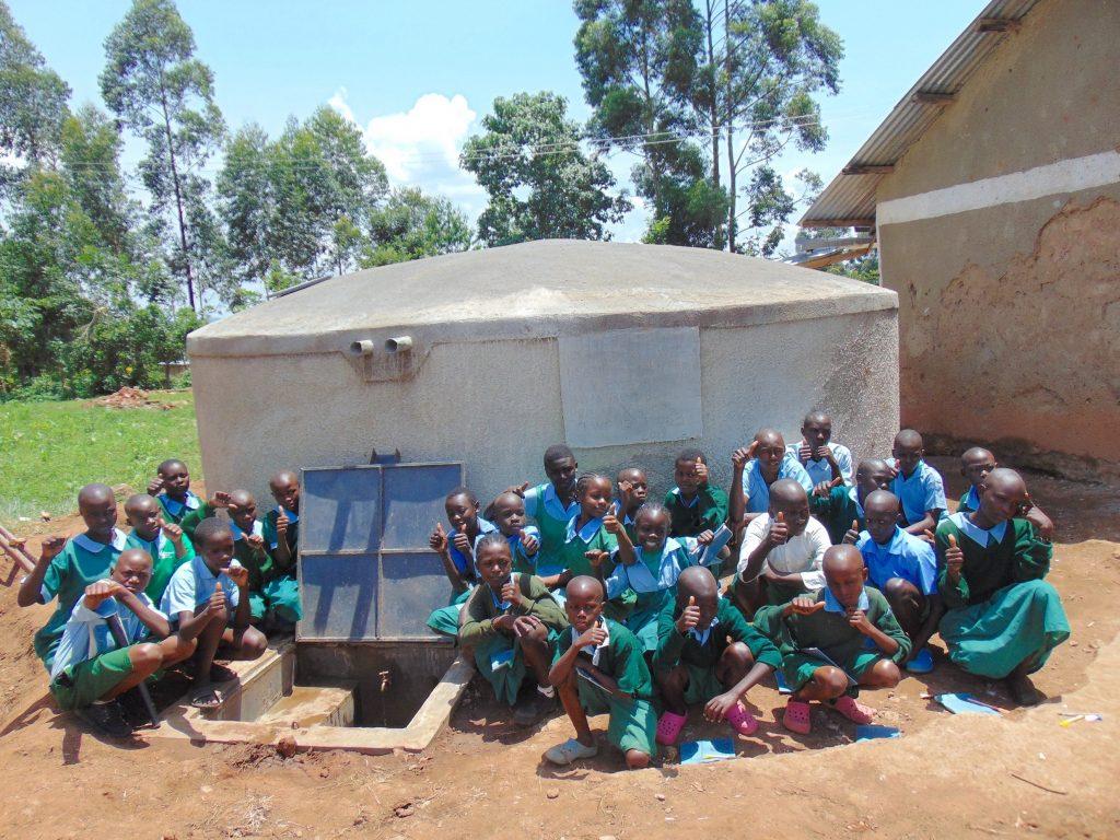 The Water Project : 30-kenya19053-kids-celebrate-the-rain-tank