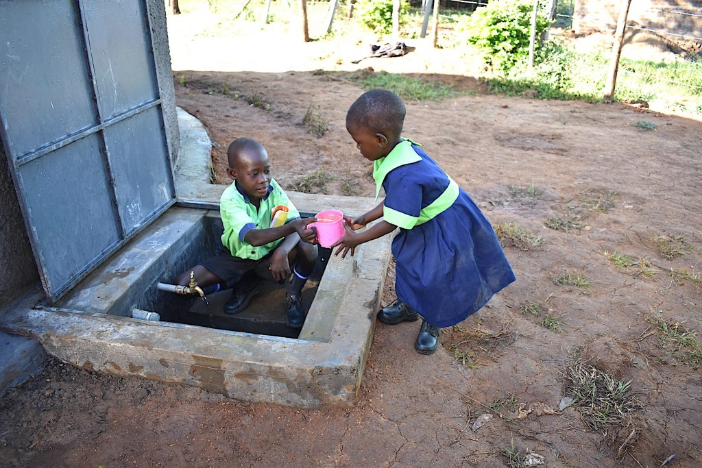 The Water Project : 34-kenya20002-brother-helps-sister-get-a-drink-2