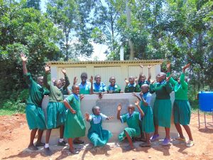 The Water Project:  Girls Celebrate New Latrines