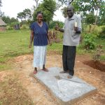 The Water Project: Kalenda B Community, Lumbasi Spring -  New Sanitation Slab Owners