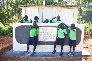The Water Project:  Boys Stand With New Vip Latrines