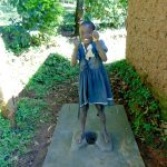 The Water Project: Emurumba Community, Makokha Spring -  Thumbs Up For New Latrine Slab