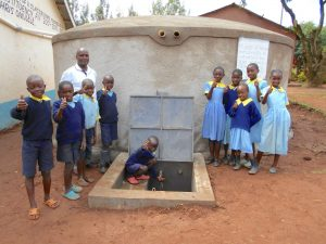 The Water Project:  Pupils And Staff Pose With Rain Tank