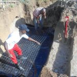 The Water Project: Kalenda B Community, Lumbasi Spring -  Setting Wiremesh For Foundation