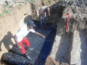 The Water Project:  Setting Wiremesh For Foundation