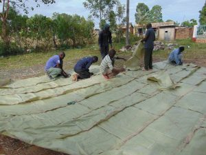 The Water Project:  Knitting Sacks Onto Dome Wire