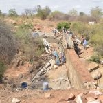 The Water Project: Wamwathi Community -  Dam Wall Progress