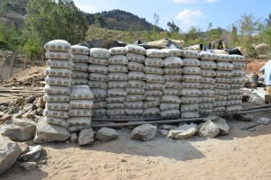 The Water Project:  Stacks Of Cement Bags