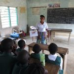 The Water Project: Lungi, Mamankie, DEC Mamankie Primary School -  Students Listen During The Hygiene Training