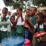 The Water Project: Lungi, Kasongha, DEC Kasongha Primary School -  Students Celebrating Clean Water