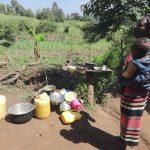 The Water Project: Mahira Community, Jairus Mwera Spring -  Alice Mwera At Her Dishrack