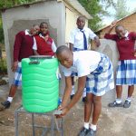 The Water Project: Friends Secondary School Shirugu -  Girls Wash Hands Outside Their New Latrines