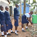 The Water Project: St. Peter's Khaunga Secondary School -  Girls At Their New Handwashing Station