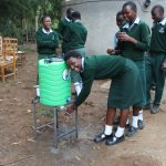 The Water Project: Friends Kuvasali Secondary School -  Girls Using A Handwashing Point