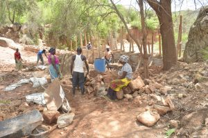 The Water Project:  Community Members Working On The Dam