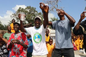 The Water Project:  School Head Teacher Town Chief And Headman Celebrate