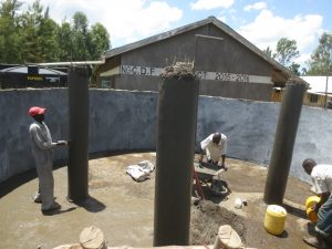 The Water Project:  Tank Pillars Construction