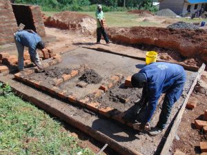 The Water Project:  Latrine Brick Work Over Concrete Foundation