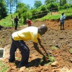 The Water Project: Shikangania Community, Abungana Spring -  Planting Grass
