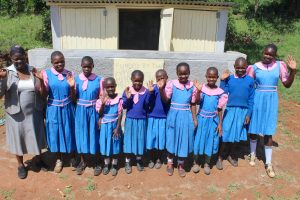 The Water Project:  Pupils And Staff Posing At New Girls Latrines