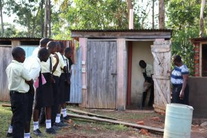 The Water Project:  Latrine Disinfection Practical With Ash