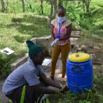 The Water Project: Ingavira Community, Laban Mwanzo Spring -  Handwashing Station In The Community