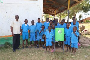 The Water Project:  The Gents With Head Teacher Mutende And A Handwashing Station