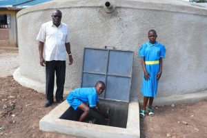 The Water Project:  Head Teacher Mutende With Pupils At The Water Point