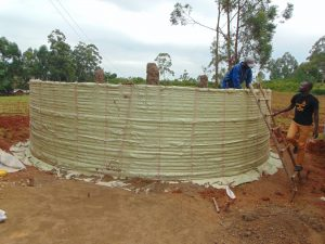The Water Project:  Sacks Tied To Wire To Hold Plaster