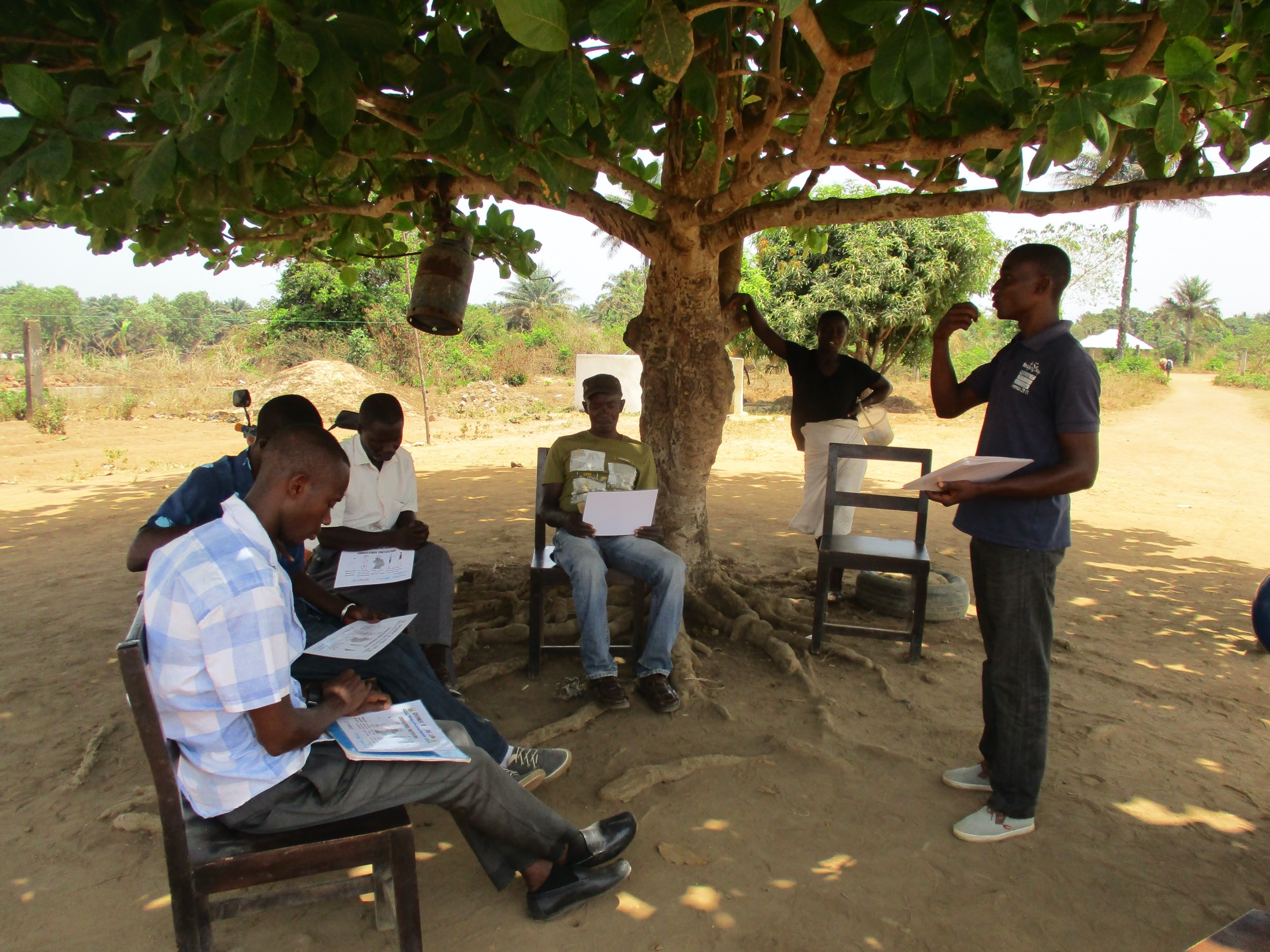 The Water Project : covid19-sierraleone19265-staff-sensitizing-teachers-about-corona-virus-2