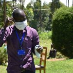 The Water Project: Musutsu Community, Mwashi Spring -  Demonstration Of Proper Mask Wearing
