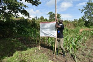 The Water Project:  Mr Wagaka Erecting The Poles At The Spring