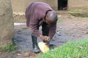The Water Project:  Sir Charles Helping Out In Making A Simple Handwashing Station