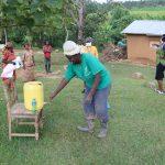 The Water Project: Emurumba Community, Makokha Spring -  Use Of Local Materials To Make Handwashing Station