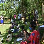 The Water Project: Ebutindi Community, Tondolo Spring -  Participants Following The Ten Steps Of Handwashing
