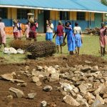 The Water Project: Mukoko Baptist Primary School -  Filling The Excavated Foundation With Stones