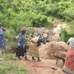 The Water Project: Nzimba Community -  Shg Members Work At The Construction Site