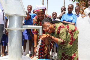 The Water Project:  School Principal Madam Melvina E Sumanna Happy Drinking Clean And Pure Drinking Water