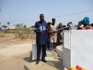 The Water Project:  Ward Councilor Abu Koroma Advising Community Members To Take Great Care Of The Pump