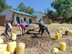 The Water Project:  Mixing Gravel Sand And Cement